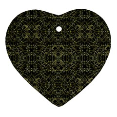Golden Geo Tribal Pattern Ornament (heart) by dflcprints