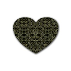 Golden Geo Tribal Pattern Rubber Coaster (heart)  by dflcprints