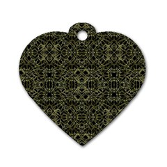 Golden Geo Tribal Pattern Dog Tag Heart (two Sides) by dflcprints