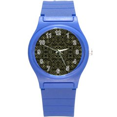 Golden Geo Tribal Pattern Round Plastic Sport Watch (s) by dflcprints