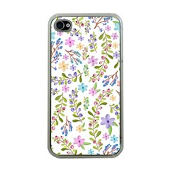 Twigs And Floral Pattern Apple Iphone 4 Case (clear) by Coelfen