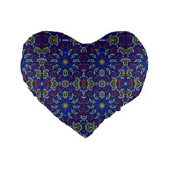 Colorful Ethnic Design Standard 16  Premium Heart Shape Cushions by dflcprints