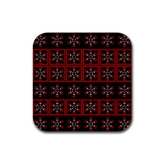 Dark Tiled Pattern Rubber Square Coaster (4 Pack)  by linceazul