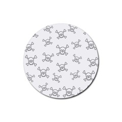 Skull Pattern Rubber Coaster (round)  by ValentinaDesign