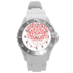 Mandala Pretty Design Pattern Round Plastic Sport Watch (l) by Nexatart