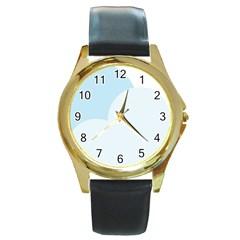 Cloud Sky Blue Decorative Symbol Round Gold Metal Watch by Nexatart