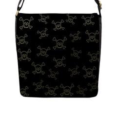 Skull Pattern Flap Messenger Bag (l)  by ValentinaDesign
