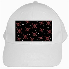 Skull Pattern White Cap by ValentinaDesign