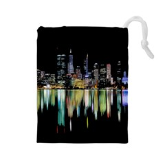 City Panorama Drawstring Pouches (large)  by Valentinaart