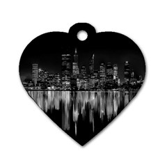 City Panorama Dog Tag Heart (one Side) by Valentinaart