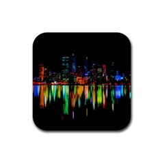 City Panorama Rubber Square Coaster (4 Pack)  by Valentinaart
