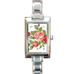 Flower Rose Pink Red Romantic Rectangle Italian Charm Watch by Nexatart