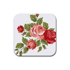 Flower Rose Pink Red Romantic Rubber Square Coaster (4 Pack)  by Nexatart