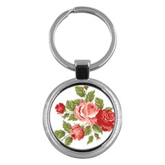 Flower Rose Pink Red Romantic Key Chains (round)  by Nexatart