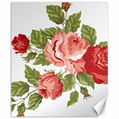 Flower Rose Pink Red Romantic Canvas 8  X 10  by Nexatart