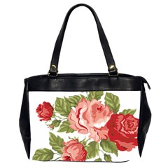Flower Rose Pink Red Romantic Office Handbags (2 Sides)  by Nexatart