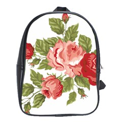 Flower Rose Pink Red Romantic School Bags (xl)  by Nexatart