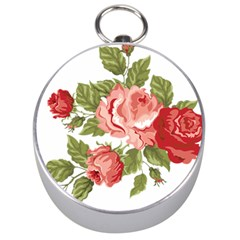 Flower Rose Pink Red Romantic Silver Compasses by Nexatart