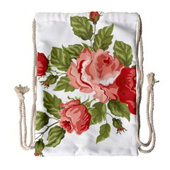 Flower Rose Pink Red Romantic Drawstring Bag (large) by Nexatart