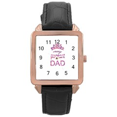 Crazy Pageant Dad Rose Gold Leather Watch  by Valentinaart