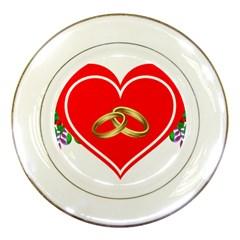 Heart Flowers Ring Porcelain Plates by Nexatart