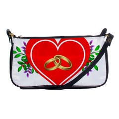 Heart Flowers Ring Shoulder Clutch Bags by Nexatart