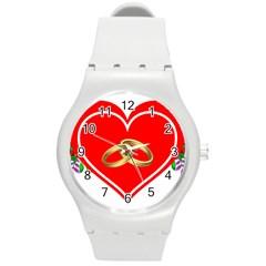 Heart Flowers Ring Round Plastic Sport Watch (m) by Nexatart