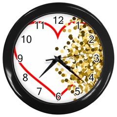 Heart Transparent Background Love Wall Clocks (black) by Nexatart