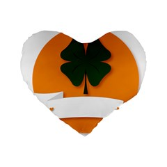 St Patricks Day Ireland Clover Standard 16  Premium Flano Heart Shape Cushions by Nexatart