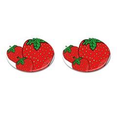 Strawberry Holidays Fragaria Vesca Cufflinks (oval) by Nexatart