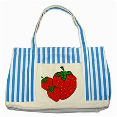 Strawberry Holidays Fragaria Vesca Striped Blue Tote Bag by Nexatart