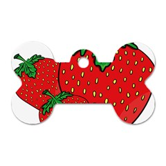 Strawberry Holidays Fragaria Vesca Dog Tag Bone (two Sides) by Nexatart