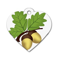 Acorn Hazelnuts Nature Forest Dog Tag Heart (one Side) by Nexatart