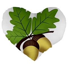 Acorn Hazelnuts Nature Forest Large 19  Premium Heart Shape Cushions by Nexatart