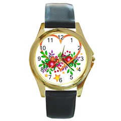Heart Flowers Sign Round Gold Metal Watch by Nexatart