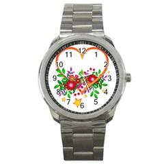 Heart Flowers Sign Sport Metal Watch by Nexatart