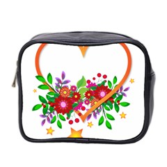Heart Flowers Sign Mini Toiletries Bag 2 Side by Nexatart