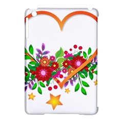 Heart Flowers Sign Apple Ipad Mini Hardshell Case (compatible With Smart Cover) by Nexatart