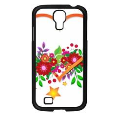 Heart Flowers Sign Samsung Galaxy S4 I9500/ I9505 Case (black) by Nexatart