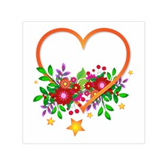 Heart Flowers Sign Small Satin Scarf (square) by Nexatart