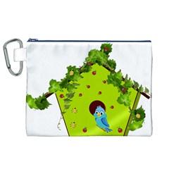 Bluebird Bird Birdhouse Avian Canvas Cosmetic Bag (xl) by Nexatart