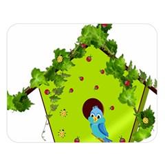 Bluebird Bird Birdhouse Avian Double Sided Flano Blanket (large)  by Nexatart