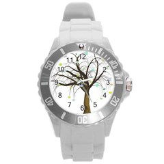 Tree Fantasy Magic Hearts Flowers Round Plastic Sport Watch (l) by Nexatart