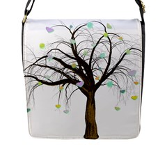Tree Fantasy Magic Hearts Flowers Flap Messenger Bag (l)  by Nexatart