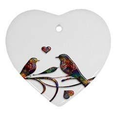 Birds Abstract Exotic Colorful Ornament (heart)