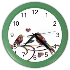 Birds Abstract Exotic Colorful Color Wall Clocks by Nexatart