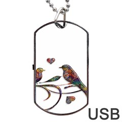 Birds Abstract Exotic Colorful Dog Tag Usb Flash (two Sides) by Nexatart