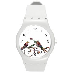 Birds Abstract Exotic Colorful Round Plastic Sport Watch (m) by Nexatart