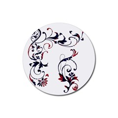 Scroll Border Swirls Abstract Rubber Coaster (round)  by Nexatart