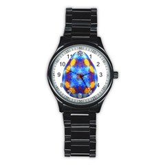 Easter Eggs Egg Blue Yellow Stainless Steel Round Watch by Nexatart